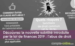 Découvrez la nouvelle subtilité introduite par la loi de finances 2019 :abus de droit