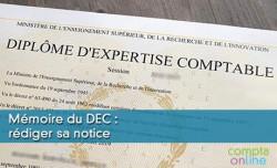 Mémoire du DEC : rédiger sa notice