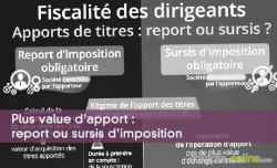 Plus value d'apport : report ou sursis d'imposition