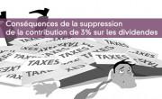 Conséquences de la suppression de la contribution de 3% sur les dividendes